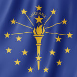 Flag of Indiana, US state. 3D illustration of the Indiana flag w